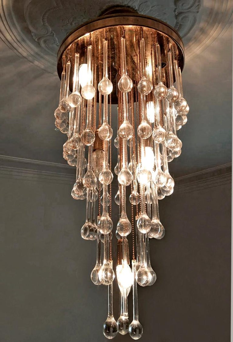 Massive Murano Crystal Glass Drop Waterfall & Gilt Brass Venini Style Chandelier For Sale 2