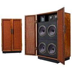 Massive Oak Cabinet Custom Made Speakers by Olson, 1960s
