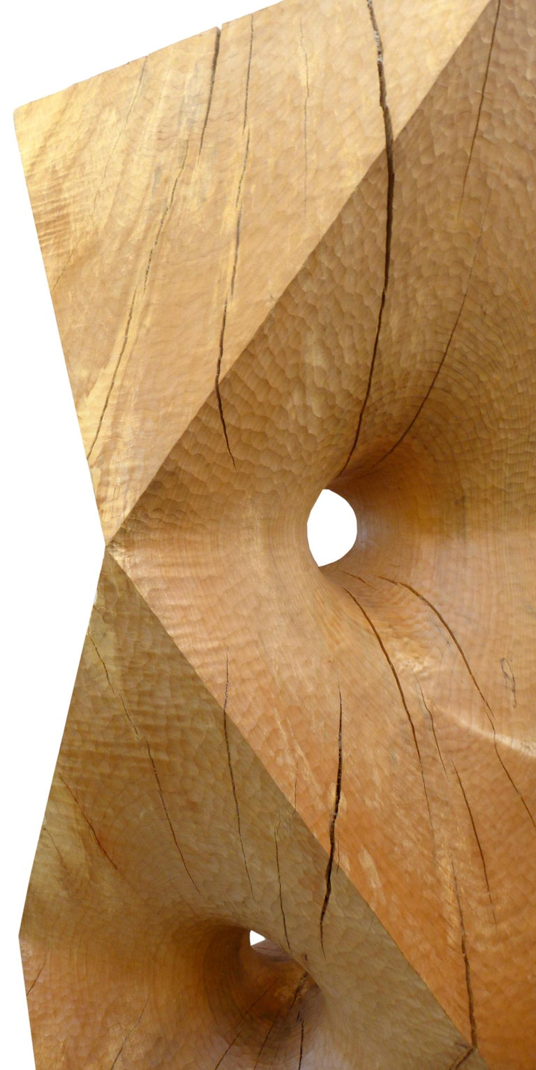 American Massive Octahedron Abstraction Sculpture in Big Leaf Maple by Aleph Geddis For Sale