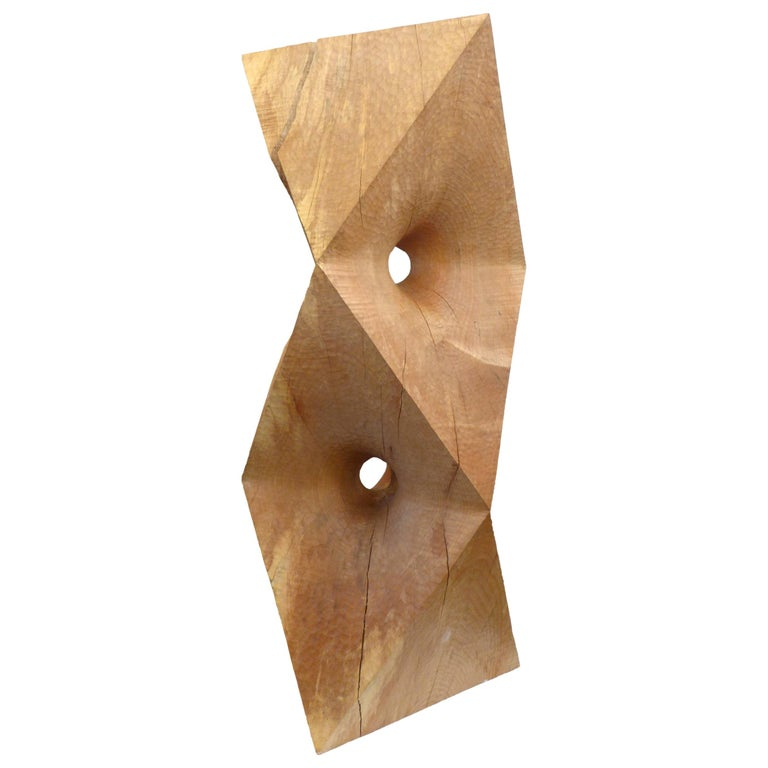 Massive Octahedron Abstraction Sculpture in Big Leaf Maple by Aleph Geddis For Sale