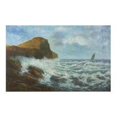 Massive Oil Painting of a Coastal Seascape Landscape, Victor Shearer, circa 1934