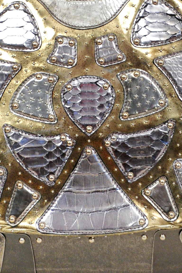Massive One of a Kind Alexander McQueen Silver Exotic Skins & Metal Bag 2007 For Sale 4