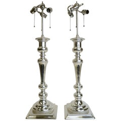 Massive Pair of E. F. Caldwell Silver Plated Bronze Candlestick Lamps