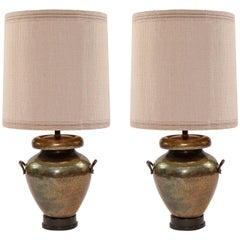 Massive Pair of 1950s Bronze and Ebonized Walnut Floor Lamps