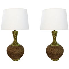 Large Pair of American 1960s Cork Lamps with Mottled Olive-Green Ceramic Mounts