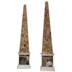 Massive Pair of Brescia and Cipollino Marble Obelisks