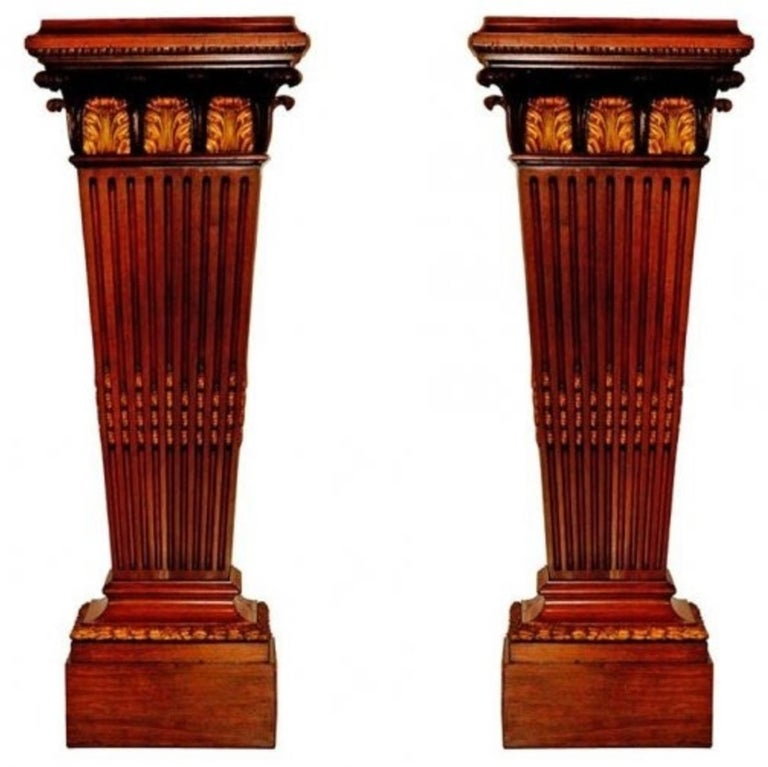 Massive Pair of Bronze-Mounted Pedestals For Sale