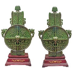 Massive Pair of Chinese Carved Jade Vases and Covers