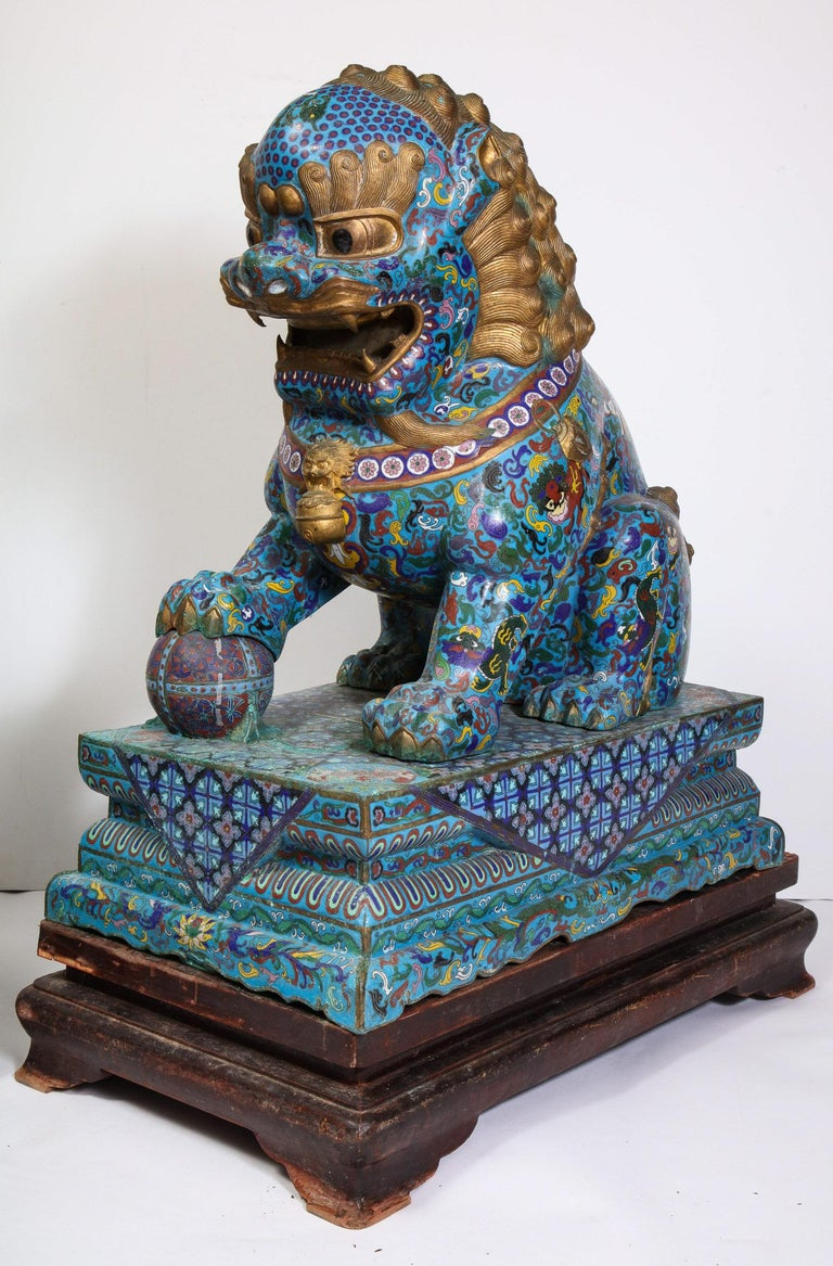 Massive Pair of Chinese Cloisonne Enamel Foo Dogs Lions on Wood Stands For Sale 5