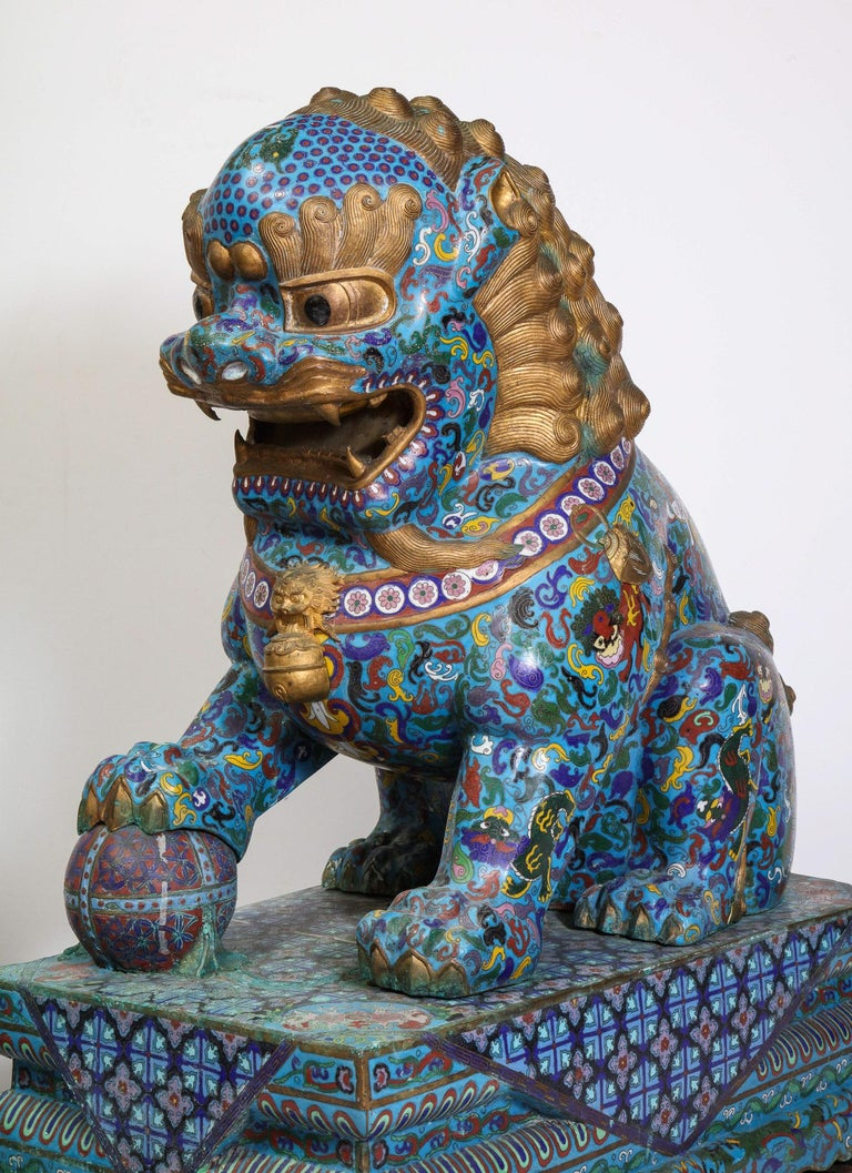 Massive Pair of Chinese Cloisonne Enamel Foo Dogs Lions on Wood Stands For Sale 6
