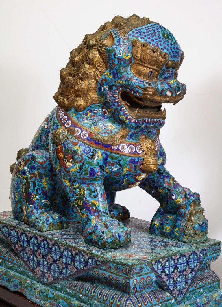 Massive Pair of Chinese Cloisonne Enamel Foo Dogs Lions on Wood Stands For Sale 7