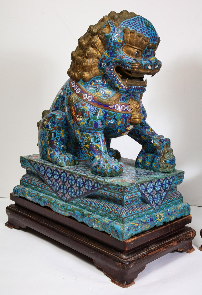Massive Pair of Chinese Cloisonne Enamel Foo Dogs Lions on Wood Stands For Sale 8