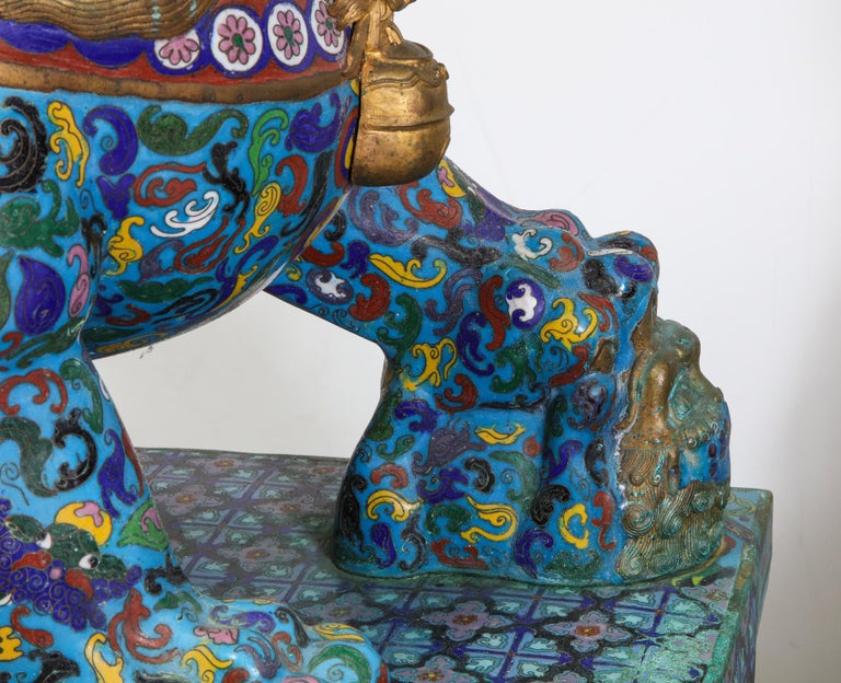 Massive Pair of Chinese Cloisonne Enamel Foo Dogs Lions on Wood Stands For Sale 10