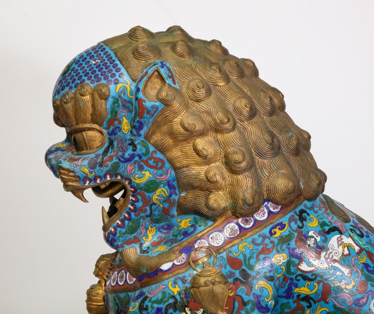 Massive Pair of Chinese Cloisonne Enamel Foo Dogs Lions on Wood Stands For Sale 15