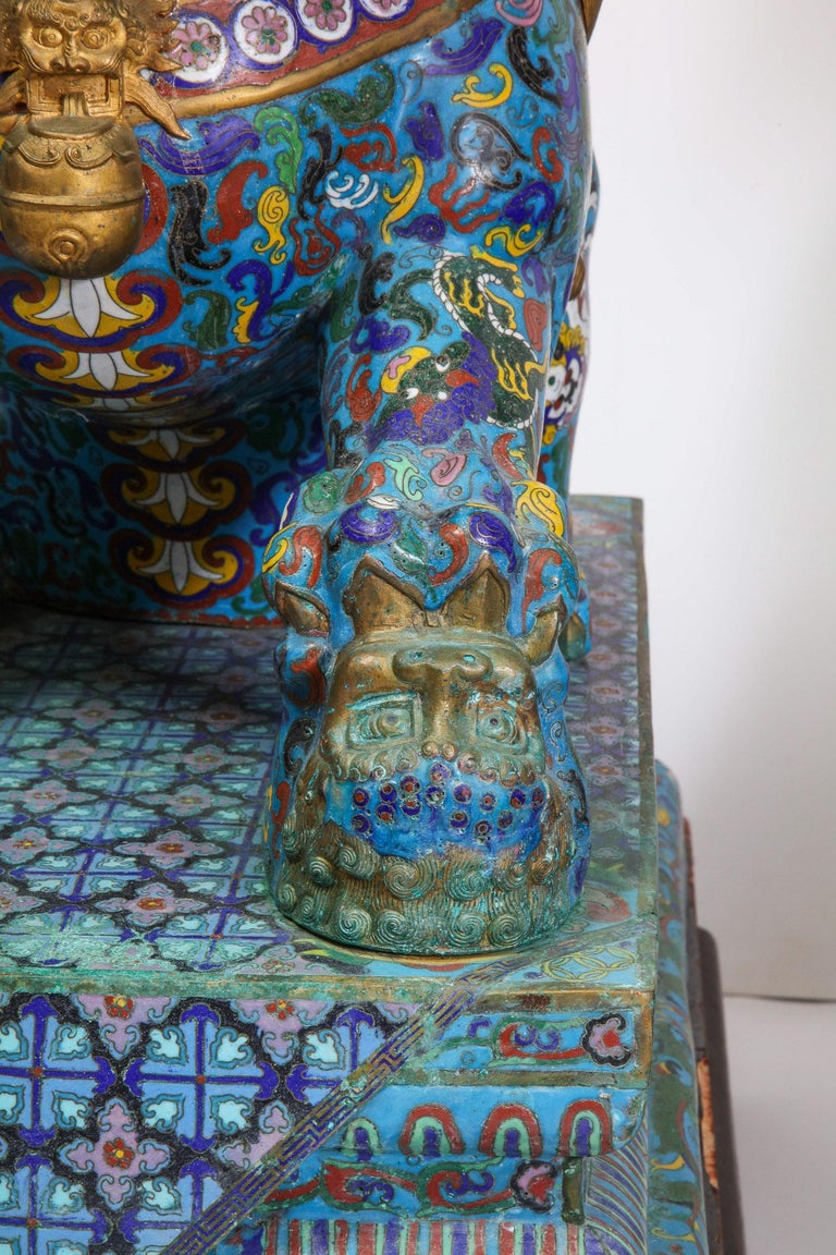 Massive Pair of Chinese Cloisonne Enamel Foo Dogs Lions on Wood Stands For Sale 1