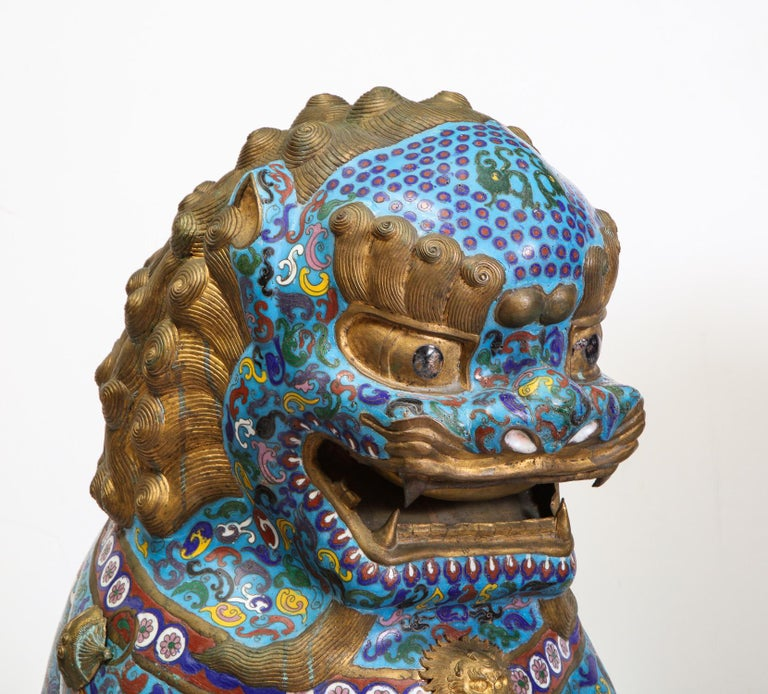Massive Pair of Chinese Cloisonne Enamel Foo Dogs Lions on Wood Stands For Sale 4