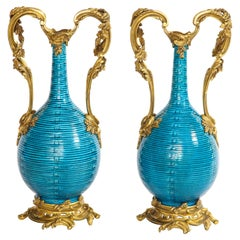 Massive Pair of Chinese Turquoise Porcelain, French Dore Bronze Mounted Vases