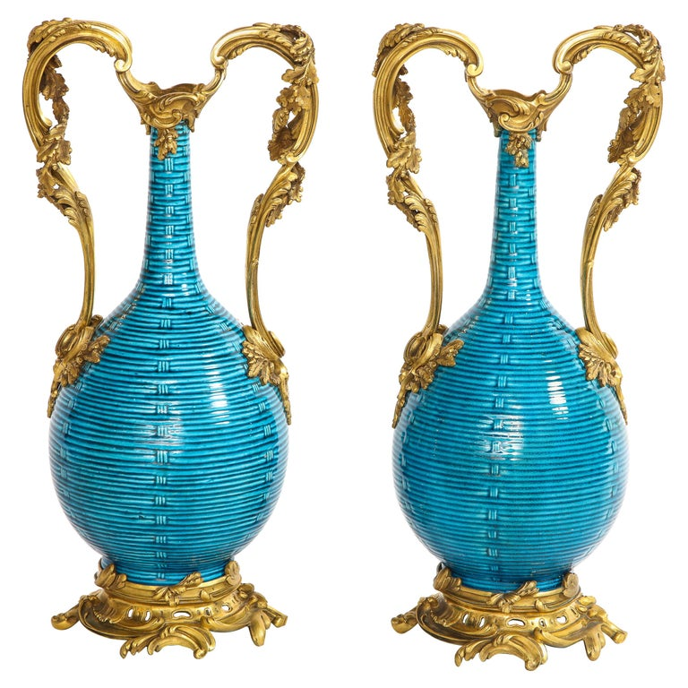 Massive Pair of Chinese Turquoise Porcelain, French Dore Bronze Mounted Vases For Sale