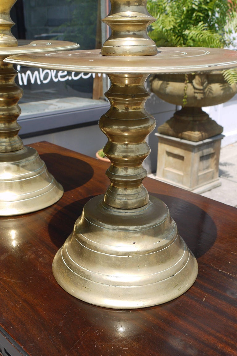 English Massive Pair of Early 19th Century Brass Candlesticks For Sale