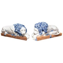 Massive Pair of Italian Glazed Terracotta Lions