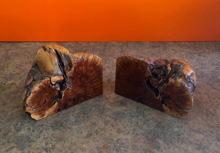 Mid-Century Modern Massive Pair of Vintage Burl Wood Bookends For Sale
