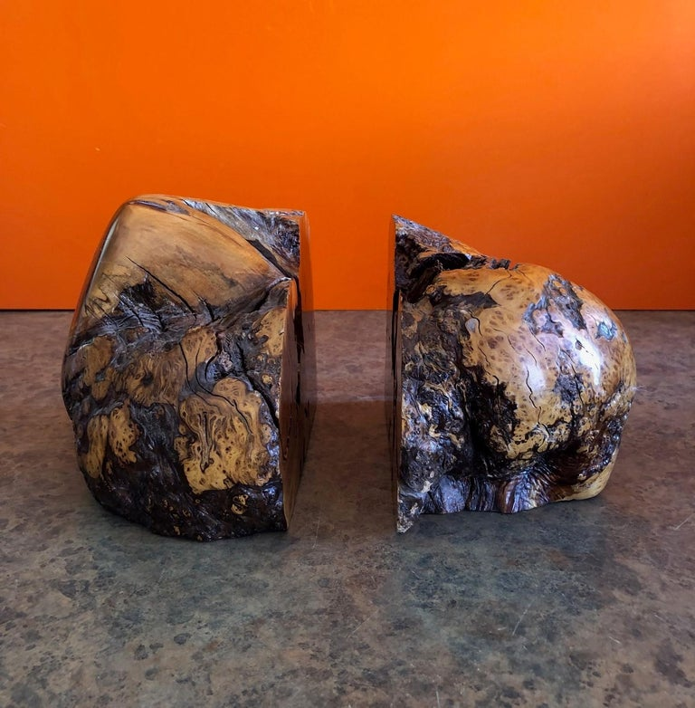 American Massive Pair of Vintage Burl Wood Bookends For Sale