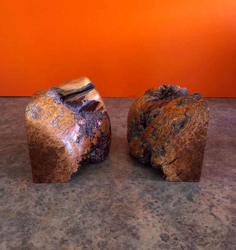 Massive Pair of Vintage Burl Wood Bookends In Good Condition For Sale In San Diego, CA