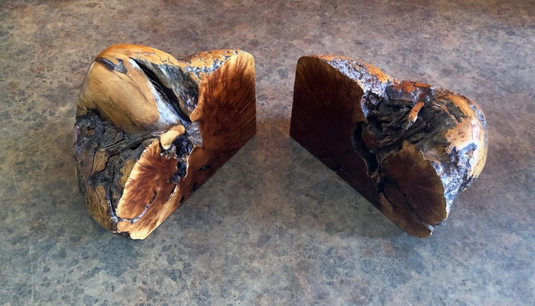 Massive Pair of Vintage Burl Wood Bookends For Sale 1