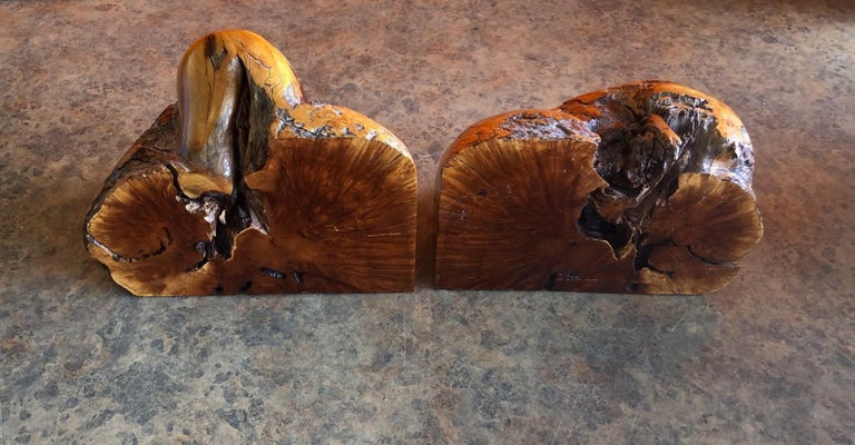 Massive Pair of Vintage Burl Wood Bookends For Sale 2