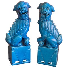 Massive Pair of Vintage Turquoise Blue Ceramic Foo Dog Sculptures