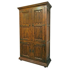 Massive Pecan Henredon Gothic Bar Cabinet Hutch with Lighted Interior