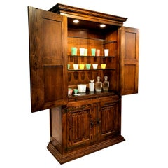 Massive Pecan Henredon Traditional Bar Cabinet Hutch with Lighted Interior
