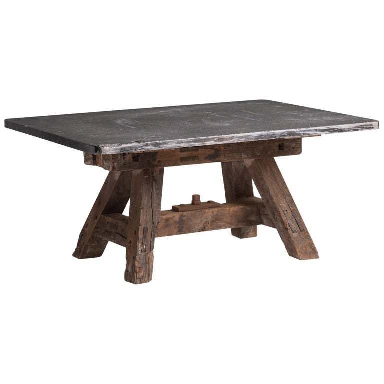 Massive Pottery Table, France, circa 1950 For Sale