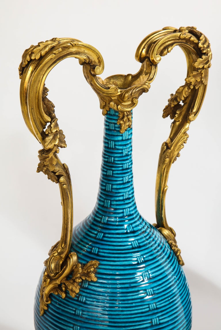Massive Pair of Chinese Turquoise Porcelain, French Dore Bronze Mounted Vases For Sale 4