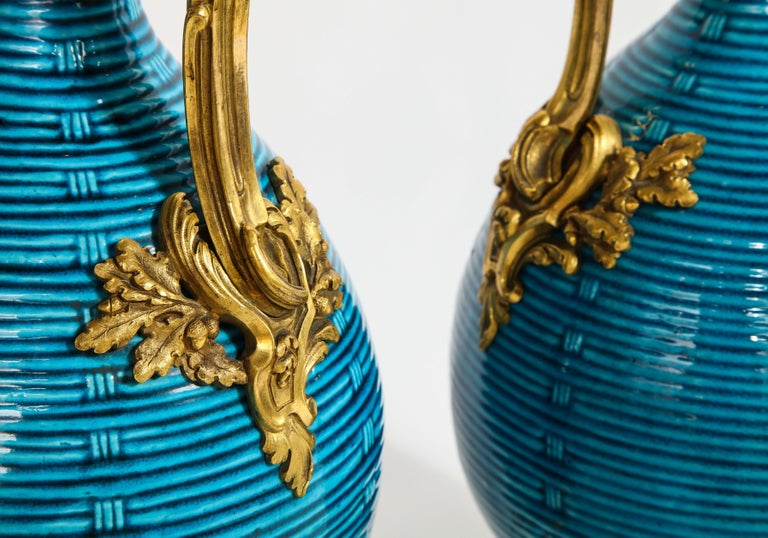Massive Pair of Chinese Turquoise Porcelain, French Dore Bronze Mounted Vases For Sale 7