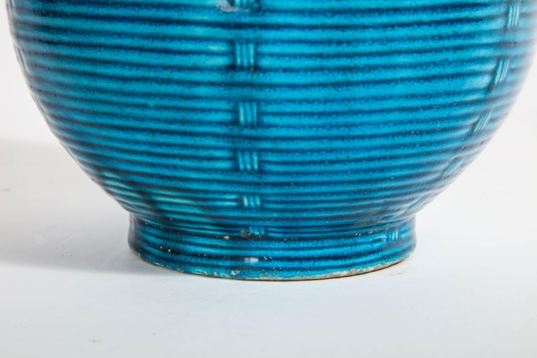 Massive Pair of Chinese Turquoise Porcelain, French Dore Bronze Mounted Vases For Sale 11