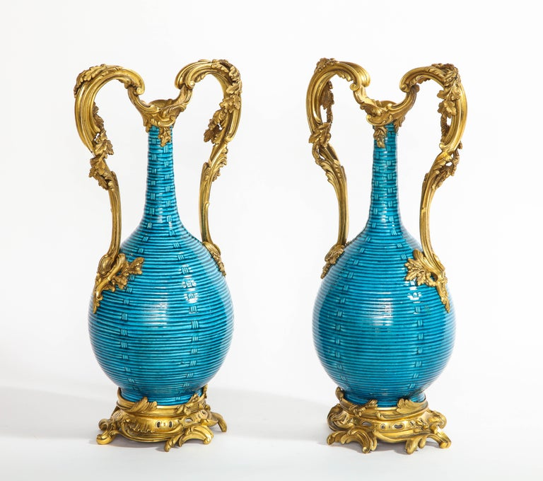 Louis XV Massive Pair of Chinese Turquoise Porcelain, French Dore Bronze Mounted Vases For Sale