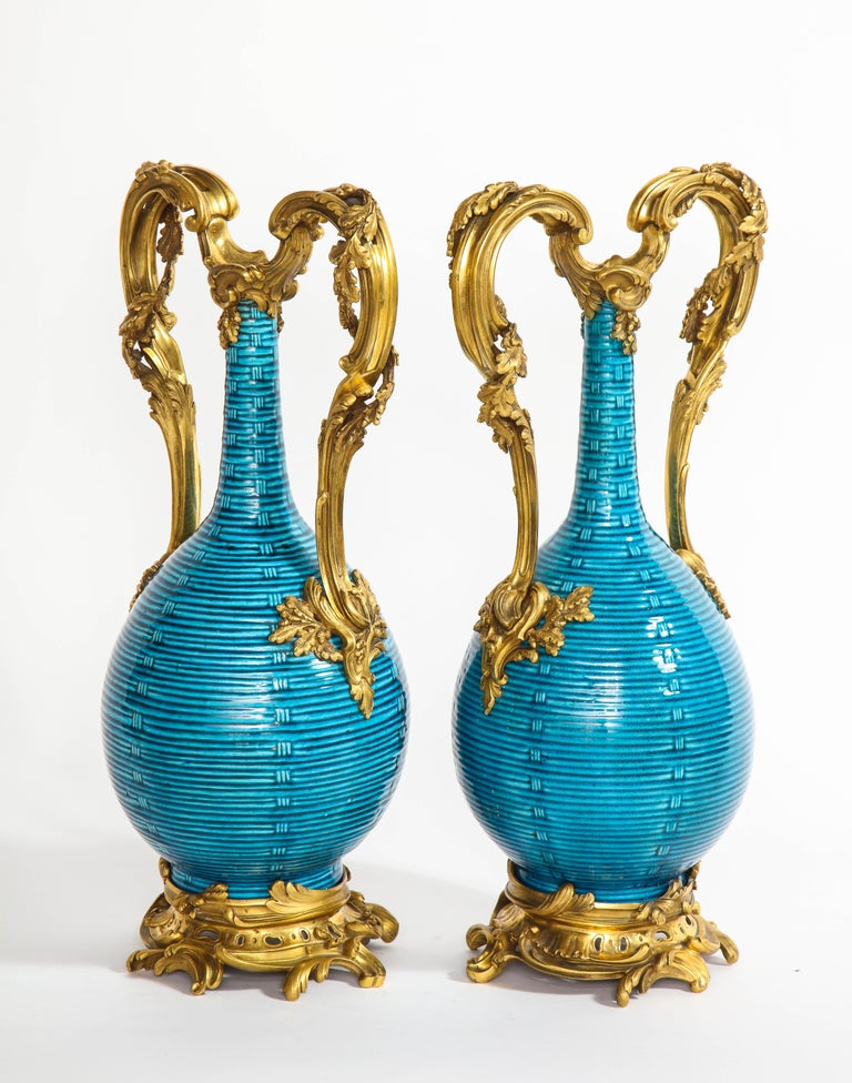 Massive Pair of Chinese Turquoise Porcelain, French Dore Bronze Mounted Vases In Good Condition For Sale In New York, NY