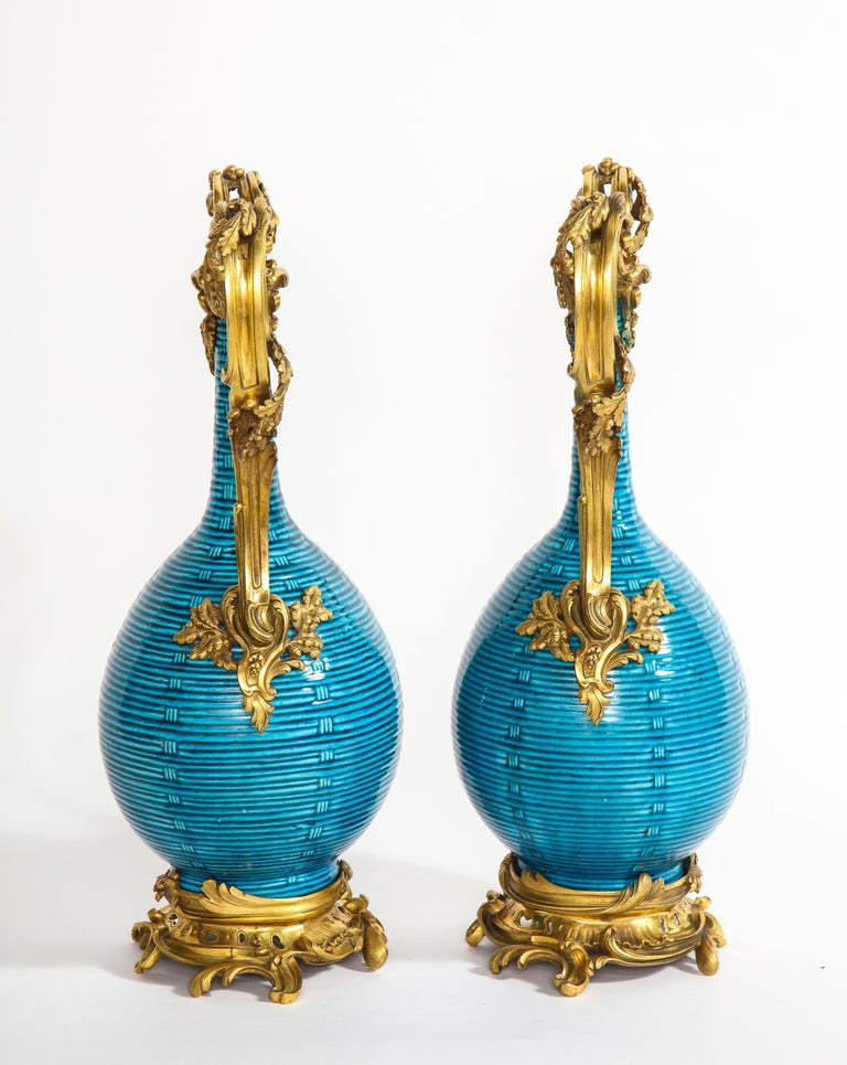 18th Century and Earlier Massive Pair of Chinese Turquoise Porcelain, French Dore Bronze Mounted Vases For Sale