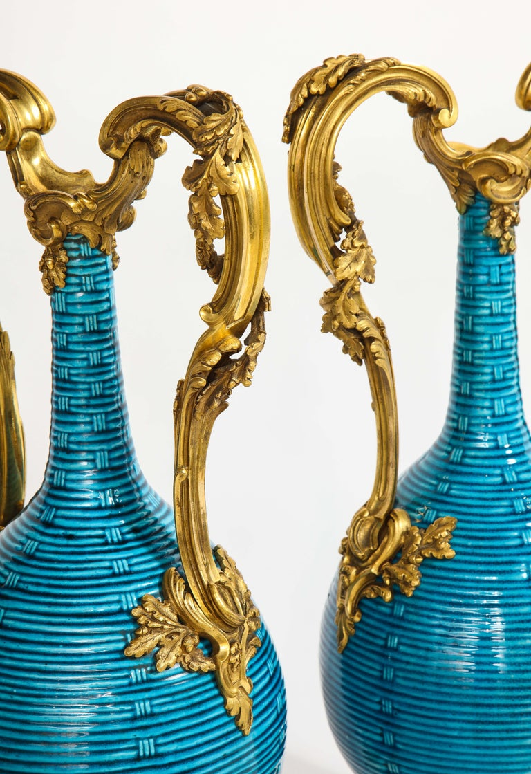 Massive Pair of Chinese Turquoise Porcelain, French Dore Bronze Mounted Vases For Sale 1