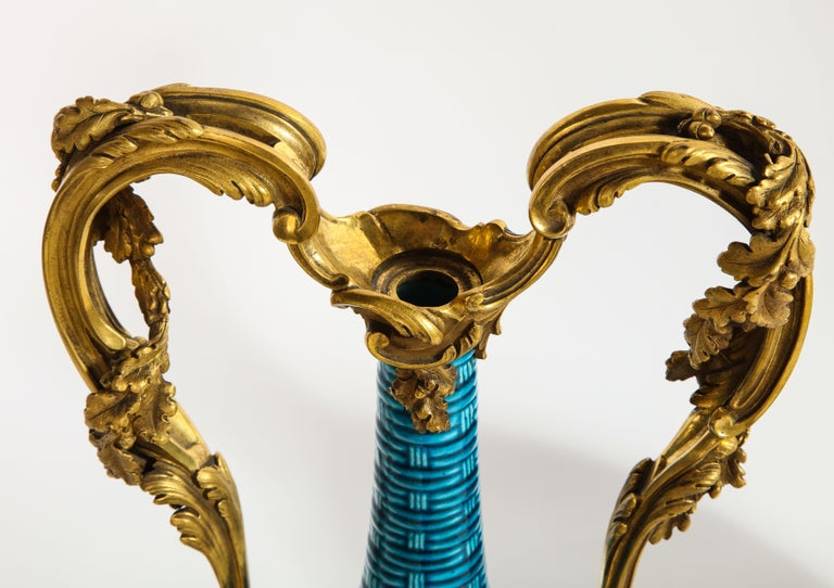 Massive Pair of Chinese Turquoise Porcelain, French Dore Bronze Mounted Vases For Sale 2