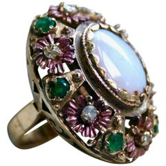 Massive Retro Floral Opal, Emerald and Diamond Ring in 14 Karat Yellow Gold