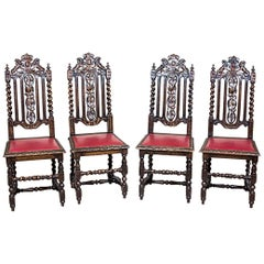 Massive, Richly Carved Chairs from the 19th Century