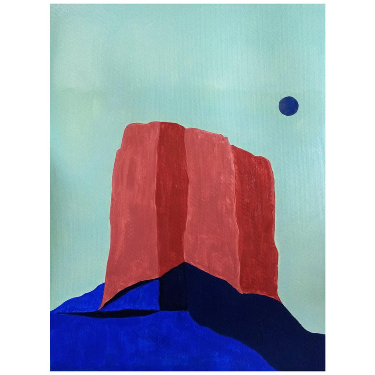 Massive Rock Landscape, Acrylic on Paper For Sale