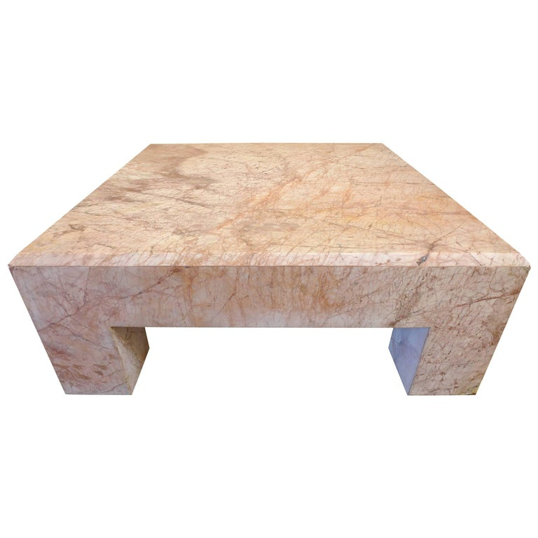 Massive Rose Marble Coffee Table For Sale