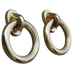 Massive Round Ring Polished Brass Handles, Italian Design, 1970s