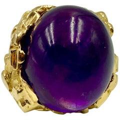 Massive Seaman Schepps Modernist 1970s 18 Karat Gold Cabochon Amethyst Ring