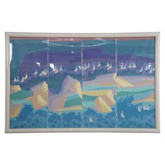 Massive Signed Abstract Quadriptych Nautical Sailboat Seascape Lithograph Print
