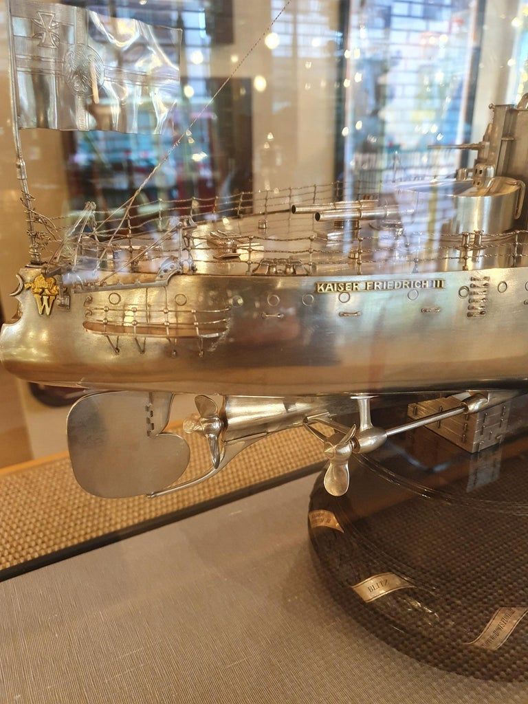Massive Silver Battleship Model of the Kaiser Friedrich III, 1903 For Sale 4
