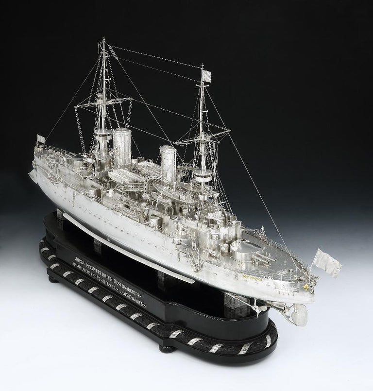 Other Massive Silver Battleship Model of the Kaiser Friedrich III, 1903 For Sale